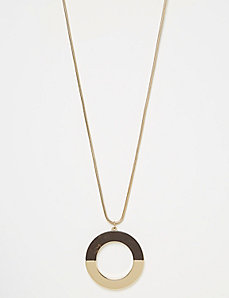 Woodgrain Circle Pendant Necklace