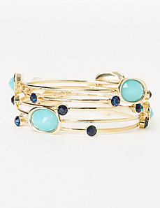 5-Row Faceted Stone Bangle Set