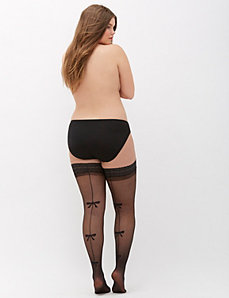 Bow Back Seam Thigh Highs