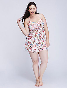 Printed Strappy Lace-Back Cami & Short PJ Set