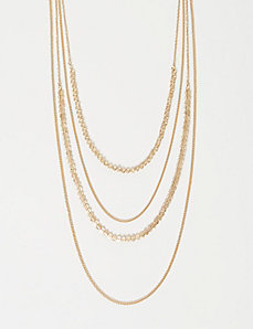 Layered Chain & Disc Bead Necklace