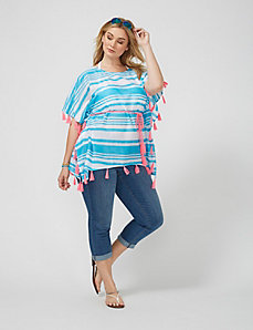 Striped Caftan with Pom Poms