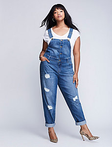 Button-Front Destructed Denim Overalls