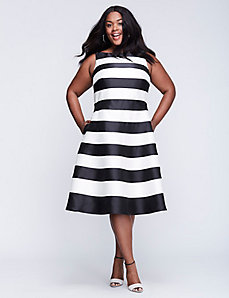 Striped Dress with Circle Skirt by Adrianna Papell