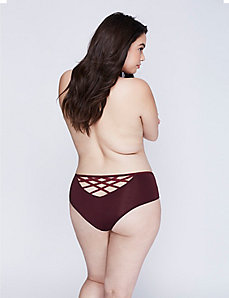 Veiled Lace Strappy-Back Cheeky Panty