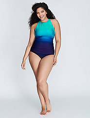 Shimmer Ombre High-Neck Swim Tank with Built-In No-Wire Bra