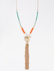 Multi-Color Beaded Necklace with Tassel