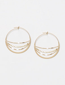 Hoop Earrings with Chain Detail