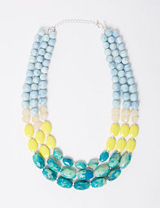3-Layer Neon & Turquoise Beaded Necklace