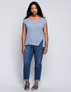 Rolled-Sleeve Tee with Split Hem
