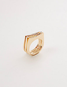 Flat Micro Pave Triple-Stack Rings