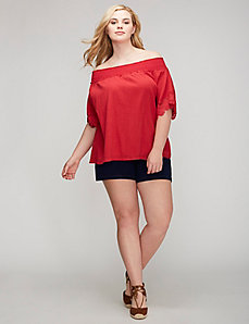 Crochet-Trim Gauze Top