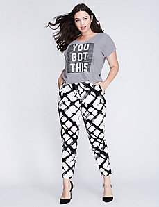 Lena Smart Stretch Brushtroke Print Ankle Pant