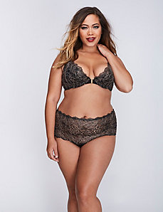 Lace Front-Close Plunge Bra