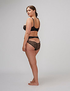 Metallic Lace Open-Back Strappy Hipster Panty