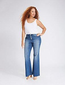 High Waist Button-Fly Flare Jean