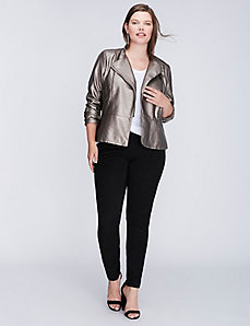 Metallic Peplum Moto Jacket