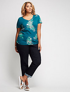 Palm Graphic Ruched V-Neck Tee
