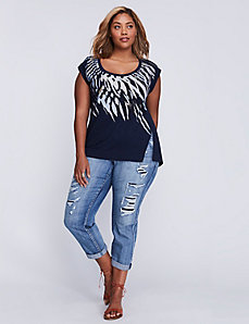 Rolled-Sleeve Feather Graphic Tee with Split Hem