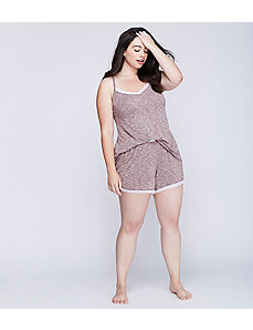 Marled Sleep Short with Striped Elastic Waistband