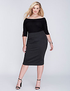 Houndstooth High Waist Midi Pencil Skirt