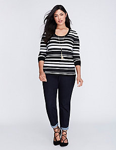 Ribbed Pullover Sweater with Keyhole