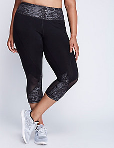 Signature Stretch Metallic Capri Legging with Mesh