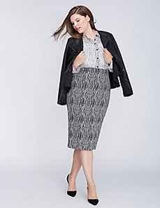 Printed Pencil Skirt with Back Zip