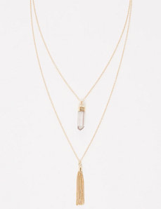 2-Layer Fringe & Stone Necklace