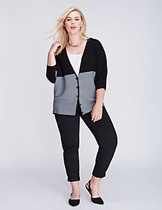 Ottoman-Stitch Colorblock Sweater