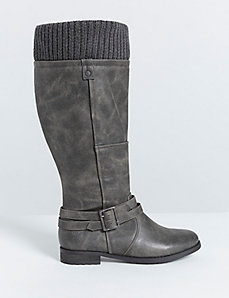 Riding Boot with Sweater Knit Trim