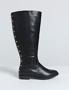 Studded-Back Riding Boot