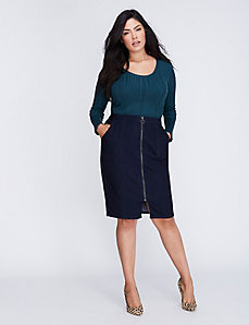 Front-Zip Denim Pencil Skirt