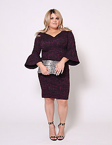 Boucle Bell Sleeve Dress by Christian Siriano