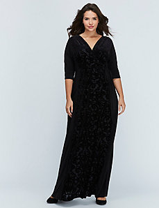 Ornate Velvet Maxi Wrap Dress by Kiyonna