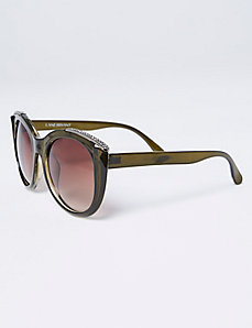 Olive Sunglasses with Top Brow Rhinestone Detail