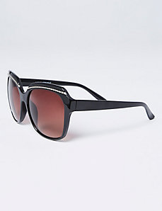 Textured Silver Brow Accented Sunglasses