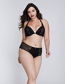 Lace Front-close Boost plunge bra & Hipster panty
