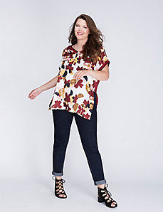 Mixed Fabric Drama Top