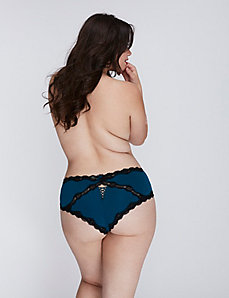 Cheeky Panty with Lace Trim & Lace-Up Back