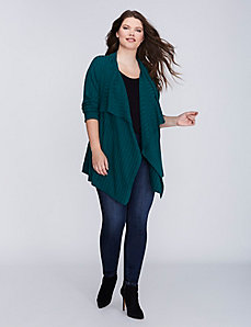 Ribbed Drape-Front Cardigan