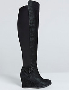Faux Suede Wedge Boot with Buckle Detail