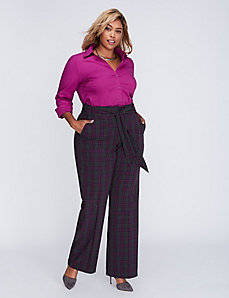 Ashley Tailored Stretch Plaid Belted Trouser