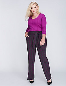 Lena Tailored Stretch Plaid Belted Trouser