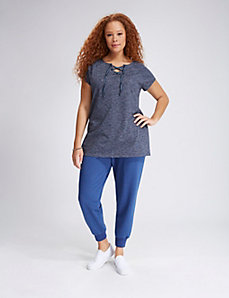 French Terry Lace-Up Tunic