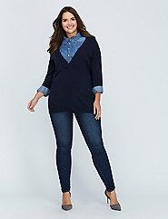 Cashmere Blend Deep V Dolman Sweater
