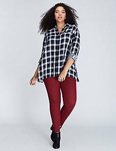 Plaid Button-Front Tunic