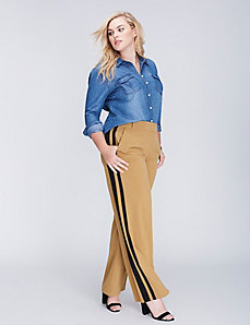 Lena Tailored Stretch Tuxedo Stripe Wide Leg Pant
