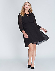 Clip Dot Tie-Neck Dress