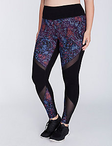 Antimicrobial Printed Active Legging with Mesh
